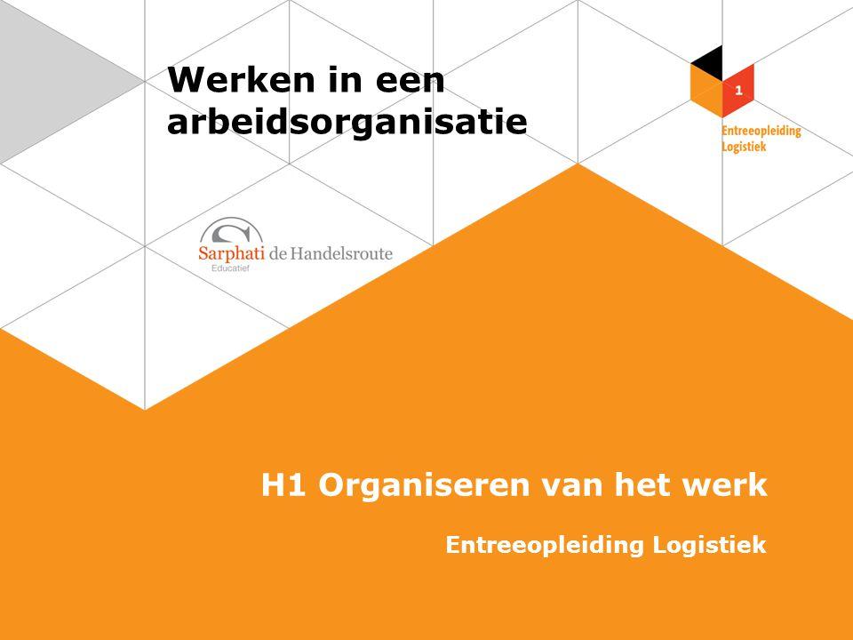 Werken in een arbeidsorganisatie H1 Organiseren van het werk Entreeopleiding Logistiek