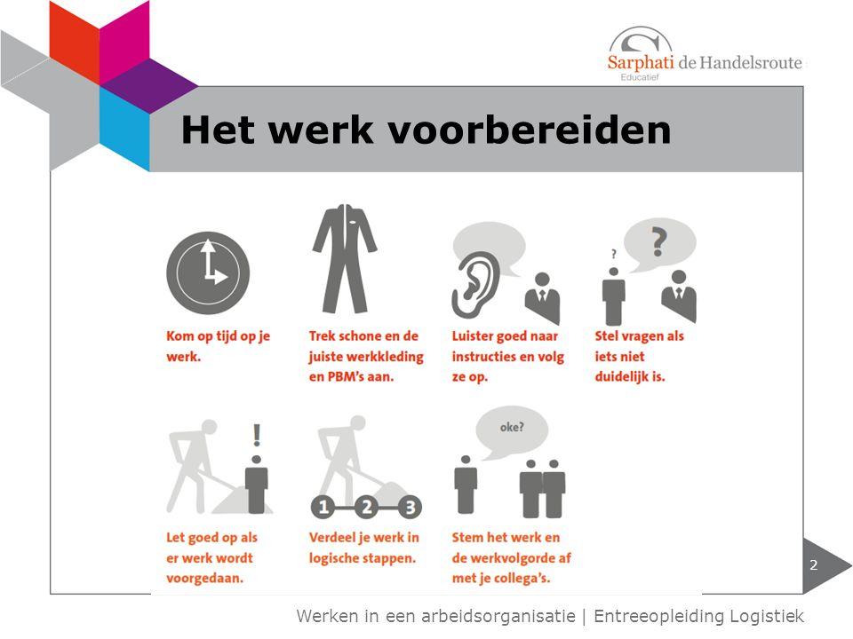 Planning op tijd beginnen binnen de tijd het werk doen Samenwerken van elkaar leren elkaar helpen 3 Werken in een arbeidsorganisatie | Entreeopleiding Logistiek Het werk uitvoeren