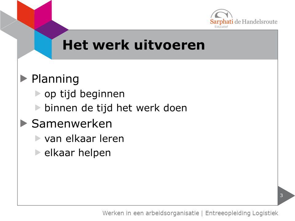 Planning op tijd beginnen binnen de tijd het werk doen Samenwerken van elkaar leren elkaar helpen 3 Werken in een arbeidsorganisatie | Entreeopleiding