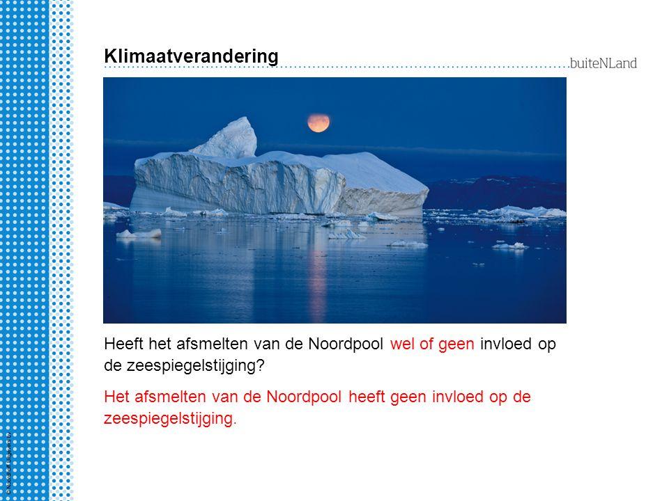Heeft het afsmelten van de Noordpool wel of geen invloed op de zeespiegelstijging.