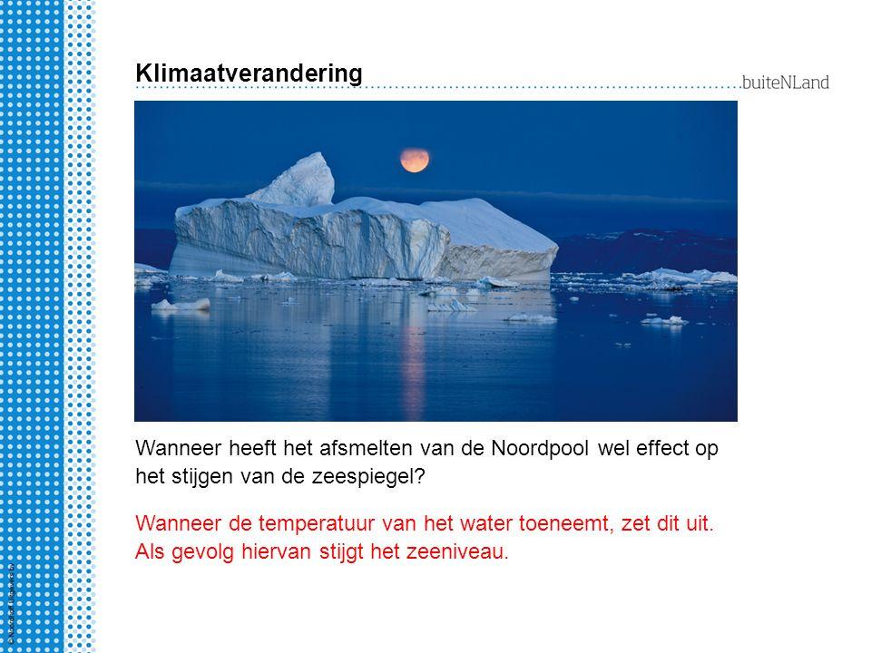 Wanneer heeft het afsmelten van de Noordpool wel effect op het stijgen van de zeespiegel.