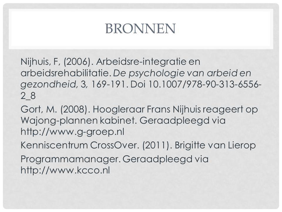 BRONNEN Nijhuis, F, (2006). Arbeidsre-integratie en arbeidsrehabilitatie. De psychologie van arbeid en gezondheid, 3, 169-191. Doi 10.1007/978-90-313-