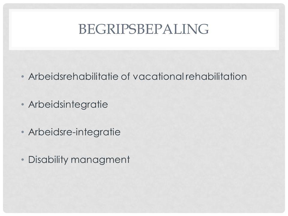 BEGRIPSBEPALING Arbeidsrehabilitatie of vacational rehabilitation Arbeidsintegratie Arbeidsre-integratie Disability managment