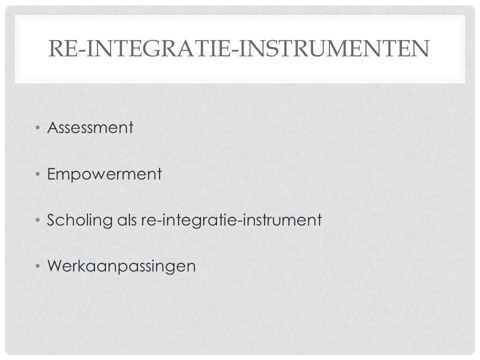 RE-INTEGRATIE-INSTRUMENTEN Assessment Empowerment Scholing als re-integratie-instrument Werkaanpassingen