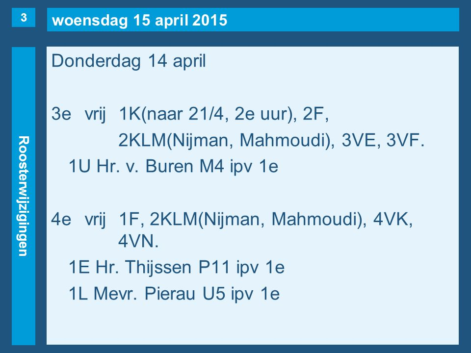 woensdag 15 april 2015 Roosterwijzigingen Donderdag 14 april 3evrij1K(naar 21/4, 2e uur), 2F, 2KLM(Nijman, Mahmoudi), 3VE, 3VF.