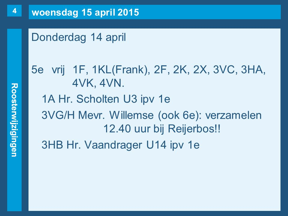woensdag 15 april 2015 Roosterwijzigingen Donderdag 14 april 5evrij1F, 1KL(Frank), 2F, 2K, 2X, 3VC, 3HA, 4VK, 4VN.