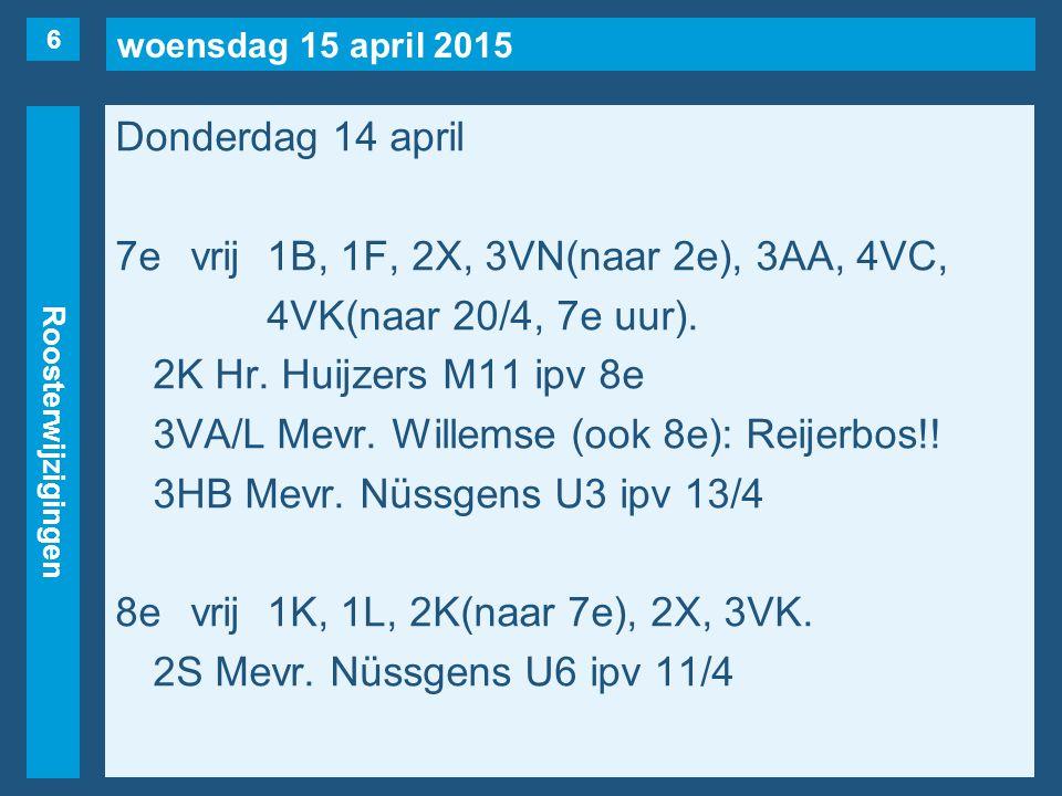 woensdag 15 april 2015 Roosterwijzigingen Donderdag 14 april 7evrij1B, 1F, 2X, 3VN(naar 2e), 3AA, 4VC, 4VK(naar 20/4, 7e uur).