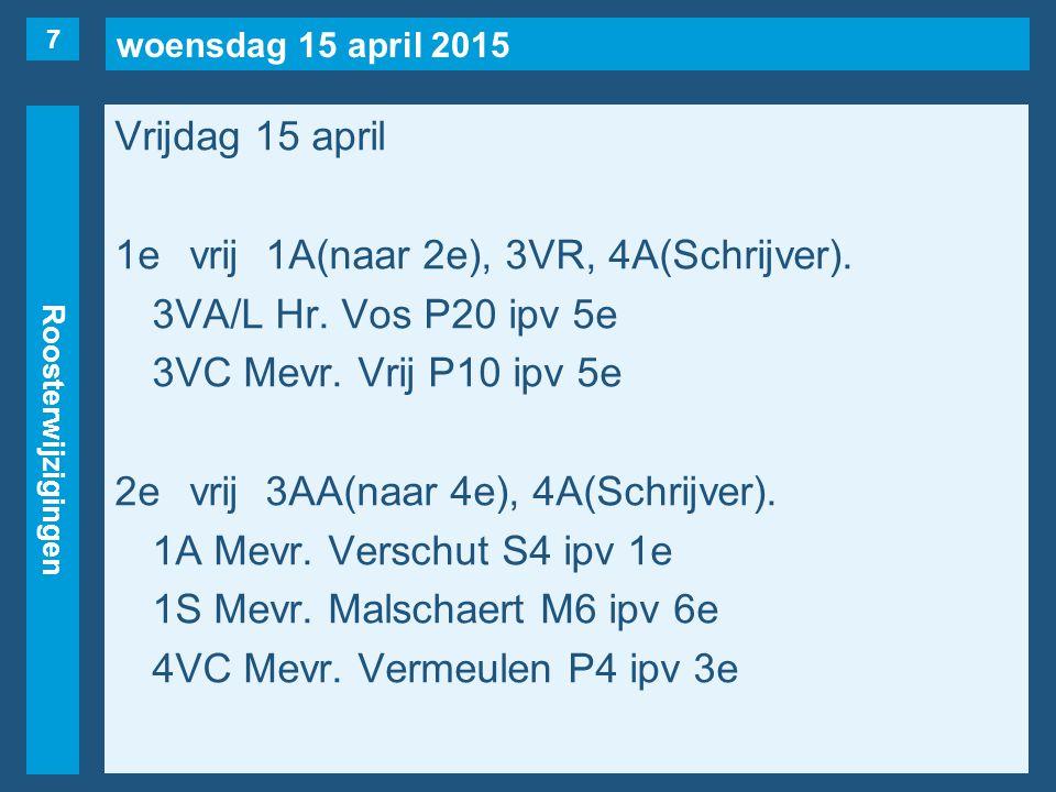woensdag 15 april 2015 Roosterwijzigingen Vrijdag 15 april 1evrij1A(naar 2e), 3VR, 4A(Schrijver).
