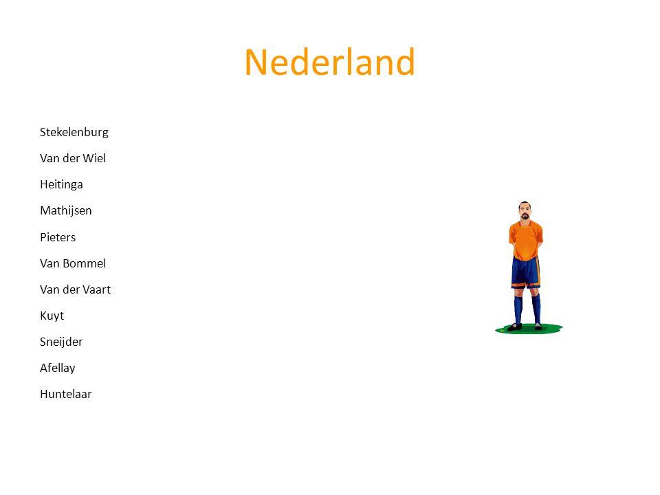 Stekelenburg Van der WielHeitinga Mathijsen Pieters Van BommelVan der Vaart KuytSneijderAfellay Huntelaar Opstelling