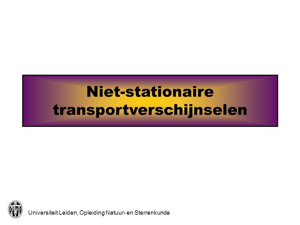 Universiteit Leiden, Opleiding Natuur- en Sterrenkunde Warmteweerstand Temperatuurvereffenening 1 Hoge T TeTe TeTe TeTe TeTe We beschouwen een klein volume gas dat aanvankelijk een hogere temperatuur (T) heeft dan zijn omgeving (T e ).