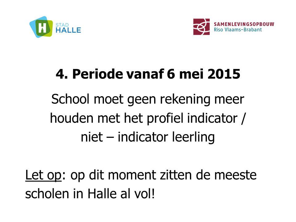 4. Periode vanaf 6 mei 2015 School moet geen rekening meer houden met het profiel indicator / niet – indicator leerling Let op: op dit moment zitten d
