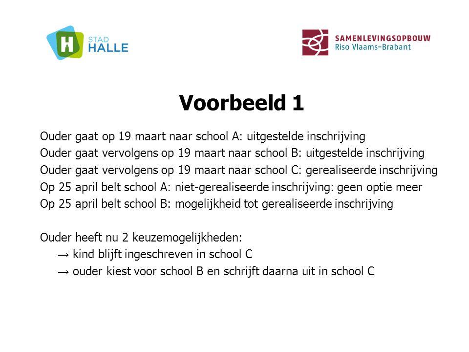 Voorbeeld 1 Ouder gaat op 19 maart naar school A: uitgestelde inschrijving Ouder gaat vervolgens op 19 maart naar school B: uitgestelde inschrijving O