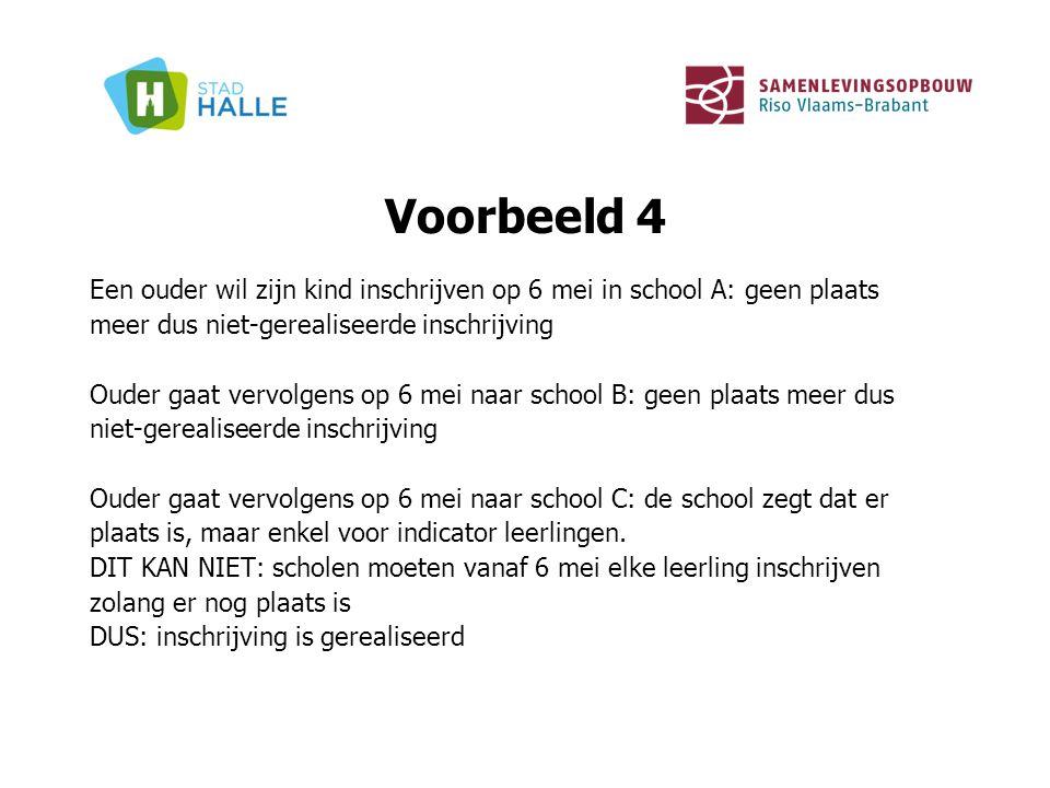 Voorbeeld 4 Een ouder wil zijn kind inschrijven op 6 mei in school A: geen plaats meer dus niet-gerealiseerde inschrijving Ouder gaat vervolgens op 6