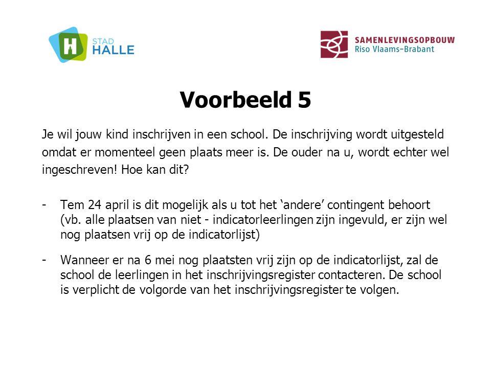 Voorbeeld 5 Je wil jouw kind inschrijven in een school. De inschrijving wordt uitgesteld omdat er momenteel geen plaats meer is. De ouder na u, wordt
