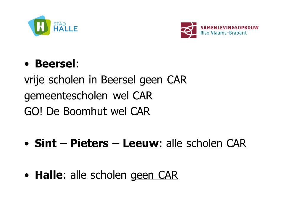 Beersel: vrije scholen in Beersel geen CAR gemeentescholen wel CAR GO! De Boomhut wel CAR Sint – Pieters – Leeuw: alle scholen CAR Halle: alle scholen