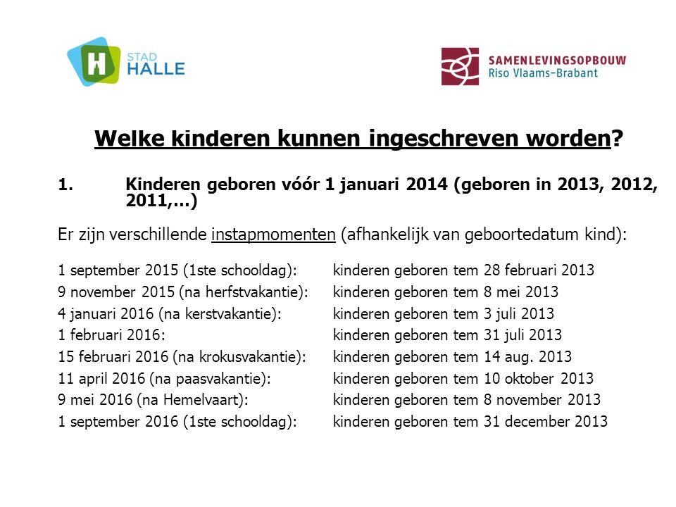 Welke kinderen kunnen ingeschreven worden? 1. Kinderen geboren vóór 1 januari 2014 (geboren in 2013, 2012, 2011,…) Er zijn verschillende instapmomente