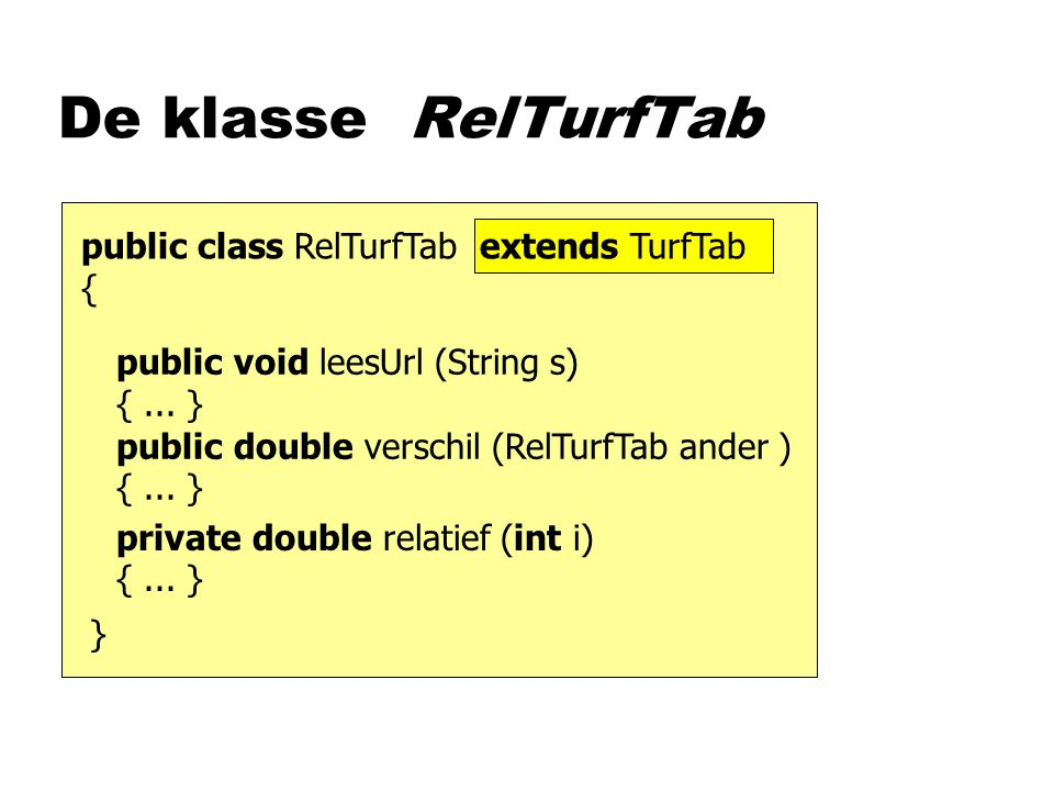 De klasse RelTurfTab public void leesUrl (String s) {...