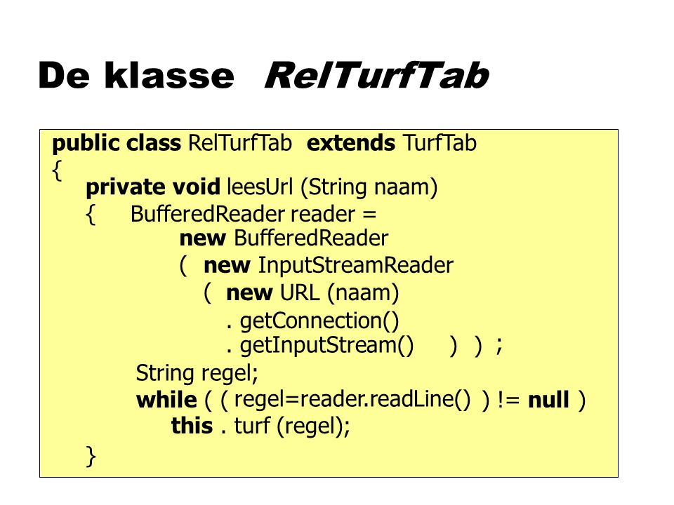 De klasse RelTurfTab private void leesUrl (String naam) { } public class RelTurfTab extends TurfTab { new URL (naam).