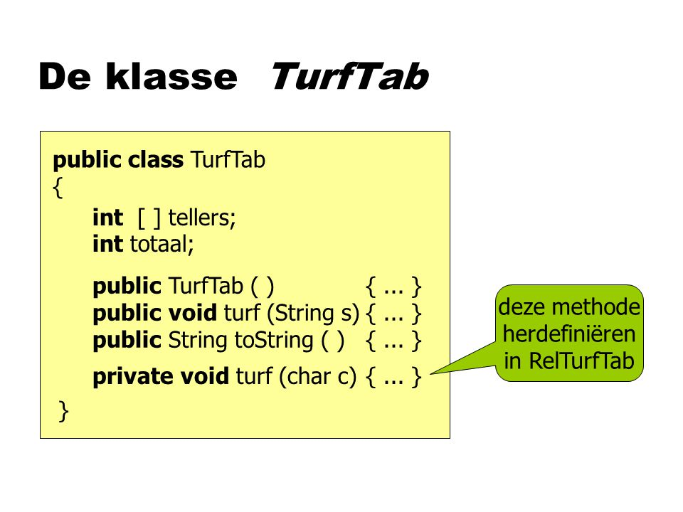 De klasse TurfTab public class TurfTab { int [ ] tellers; int totaal; public TurfTab ( ){...