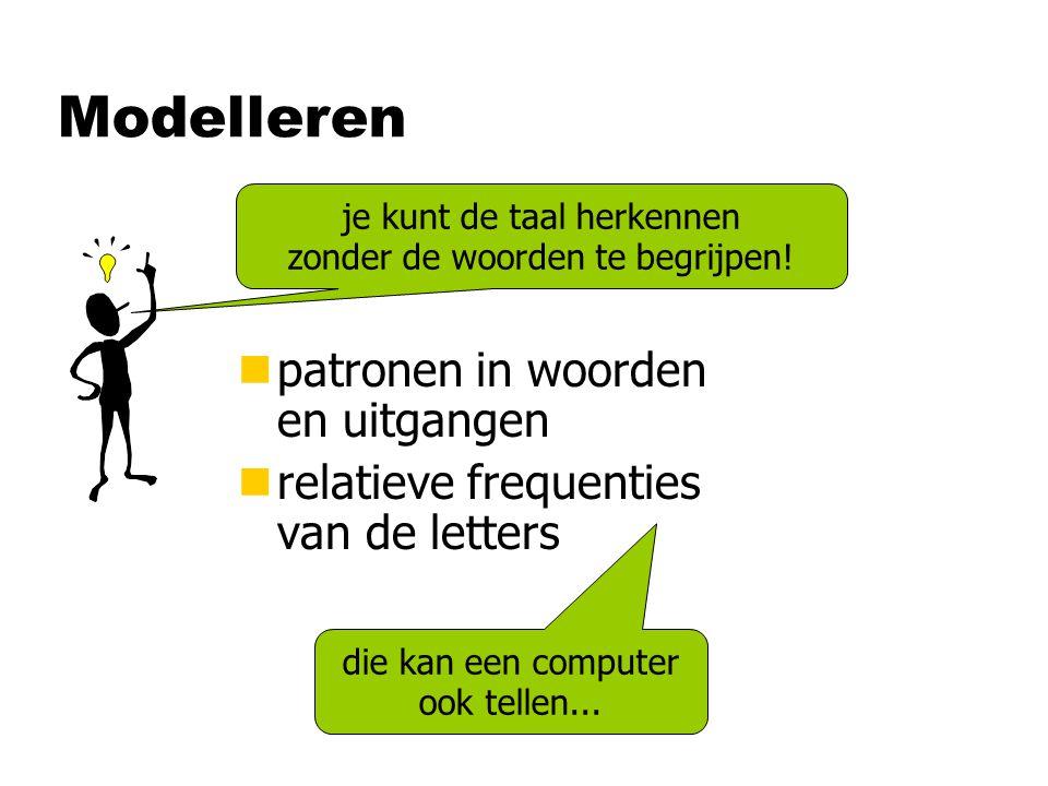 Modelleren nBepaal de letterfrequentie van de onbekende tekst nVergelijk die met opgeslagen frequentie- tabellen van diverse talen nDe best passende is het.