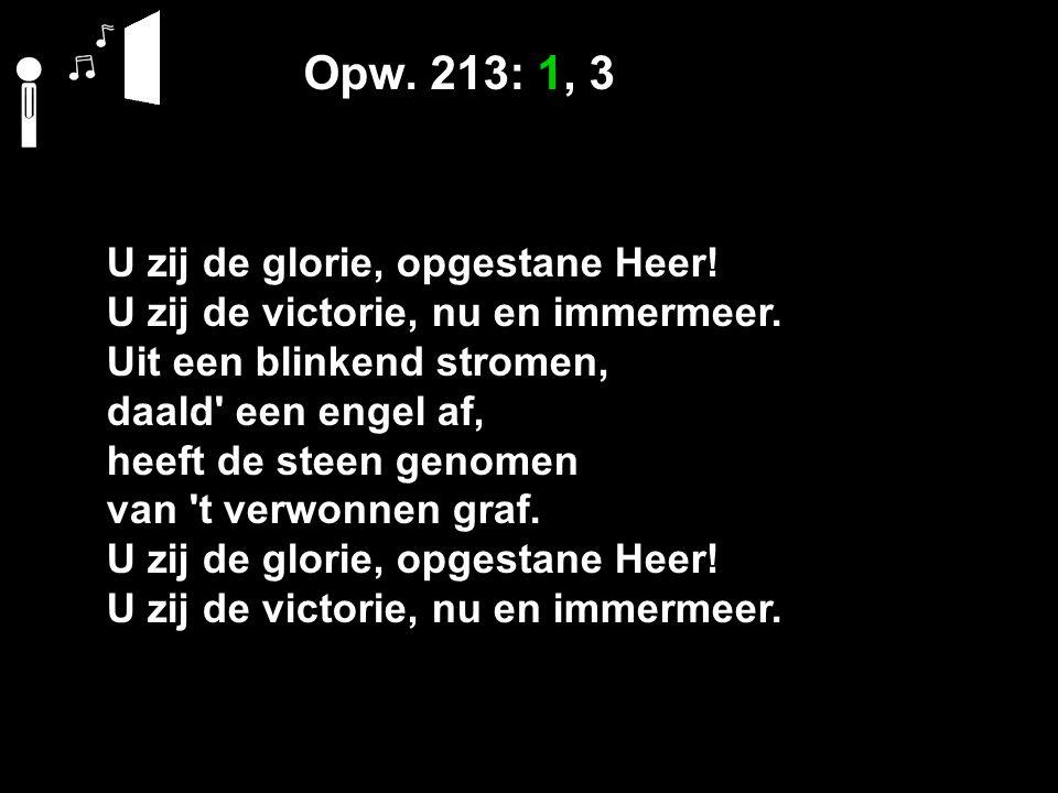 Opw. 213: 1, 3 U zij de glorie, opgestane Heer. U zij de victorie, nu en immermeer.