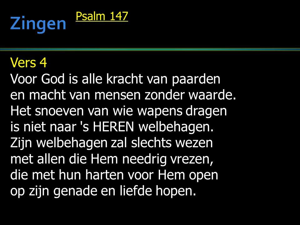 Vers 4 Voor God is alle kracht van paarden en macht van mensen zonder waarde. Het snoeven van wie wapens dragen is niet naar 's HEREN welbehagen. Zijn