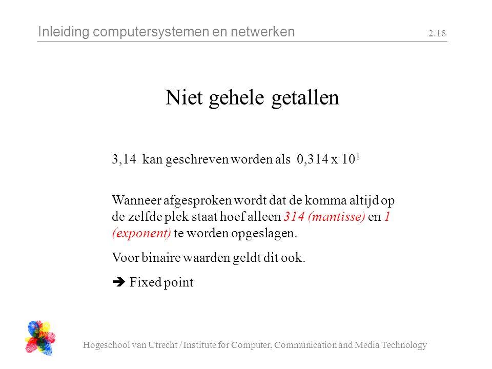 Inleiding computersystemen en netwerken Hogeschool van Utrecht / Institute for Computer, Communication and Media Technology 2.18 Niet gehele getallen 3,14 kan geschreven worden als 0,314 x 10 1 Wanneer afgesproken wordt dat de komma altijd op de zelfde plek staat hoef alleen 314 (mantisse) en 1 (exponent) te worden opgeslagen.
