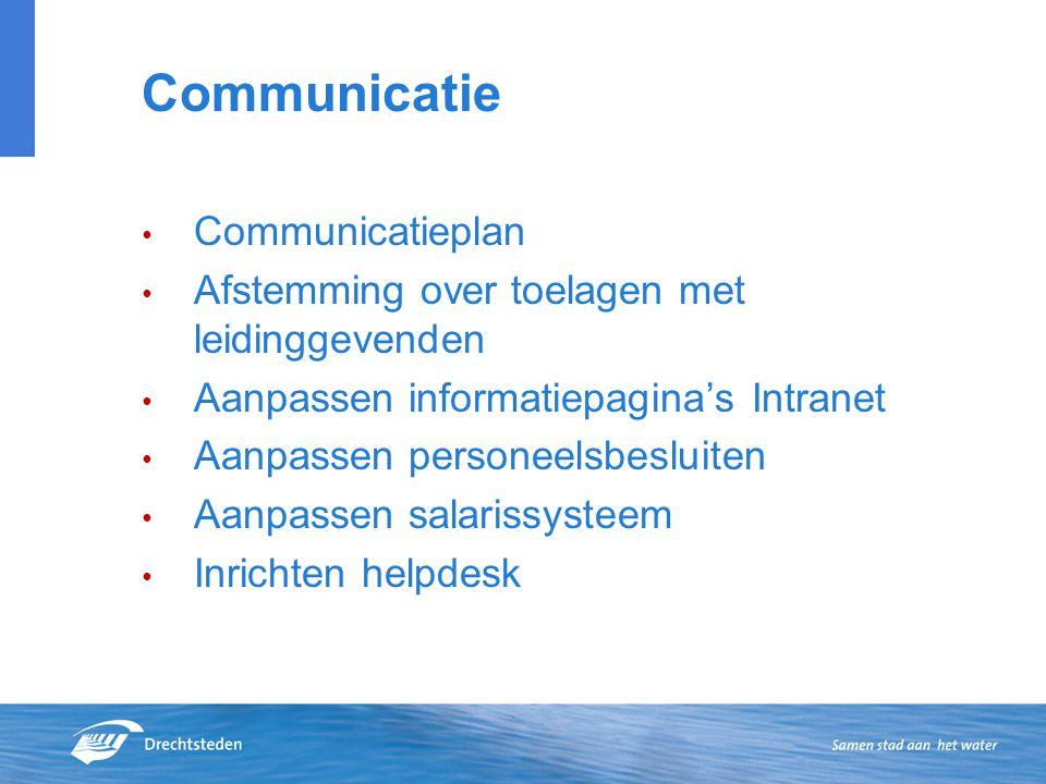 Communicatie Communicatieplan Afstemming over toelagen met leidinggevenden Aanpassen informatiepagina's Intranet Aanpassen personeelsbesluiten Aanpass