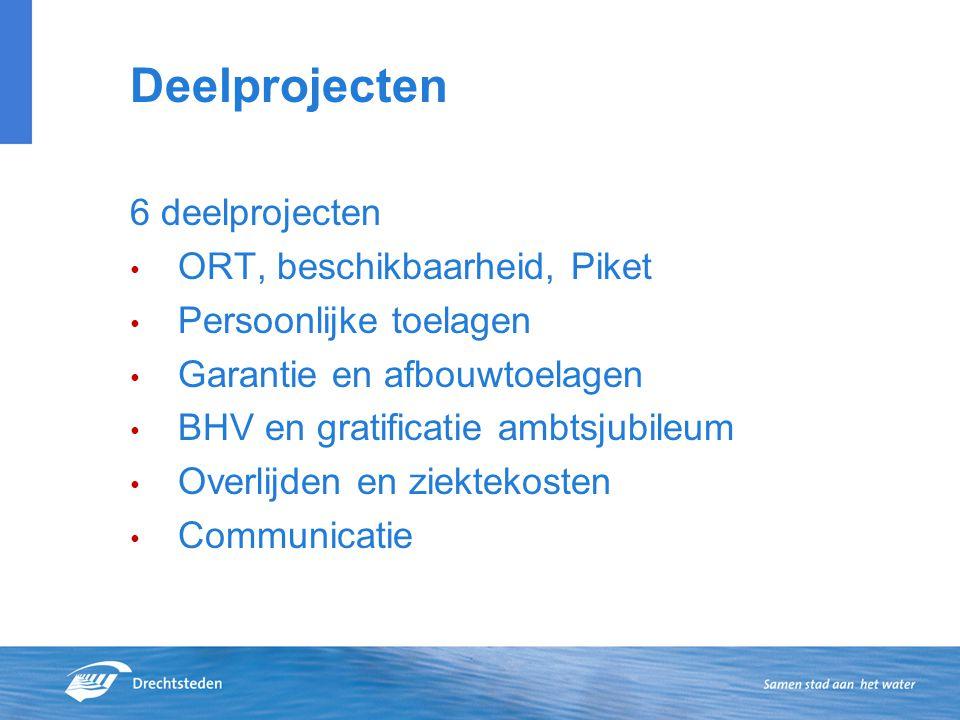 Deelprojecten 6 deelprojecten ORT, beschikbaarheid, Piket Persoonlijke toelagen Garantie en afbouwtoelagen BHV en gratificatie ambtsjubileum Overlijde