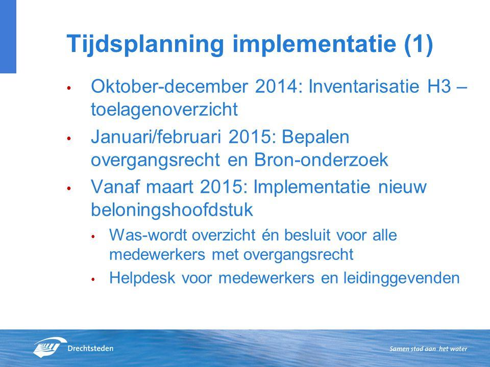 Tijdsplanning implementatie (1) Oktober-december 2014: Inventarisatie H3 – toelagenoverzicht Januari/februari 2015: Bepalen overgangsrecht en Bron-ond
