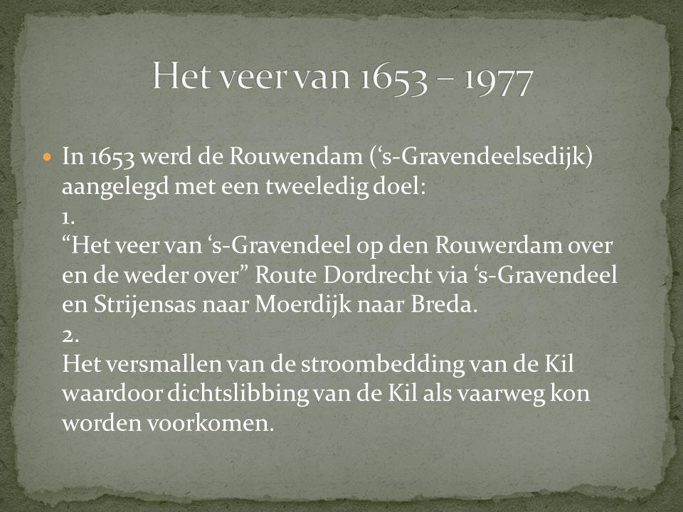 """In 1653 werd de Rouwendam ('s-Gravendeelsedijk) aangelegd met een tweeledig doel: 1. """"Het veer van 's-Gravendeel op den Rouwerdam over en de weder ove"""