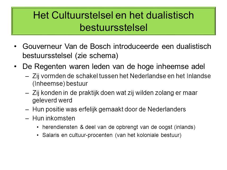 Het Cultuurstelsel en het dualistisch bestuursstelsel Gouverneur Van de Bosch introduceerde een dualistisch bestuursstelsel (zie schema) De Regenten waren leden van de hoge inheemse adel –Zij vormden de schakel tussen het Nederlandse en het Inlandse (Inheemse) bestuur –Zij konden in de praktijk doen wat zij wilden zolang er maar geleverd werd –Hun positie was erfelijk gemaakt door de Nederlanders –Hun inkomsten herendiensten & deel van de opbrengt van de oogst (inlands) Salaris en cultuur-procenten (van het koloniale bestuur)