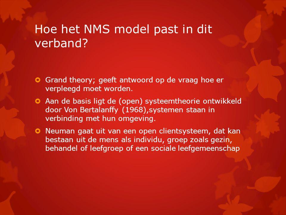 Hoe het NMS model past in dit verband?  Grand theory; geeft antwoord op de vraag hoe er verpleegd moet worden.  Aan de basis ligt de (open) systeemt