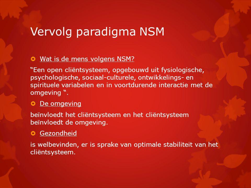 """Vervolg paradigma NSM  Wat is de mens volgens NSM? """"Een open cliëntsysteem, opgebouwd uit fysiologische, psychologische, sociaal-culturele, ontwikkel"""