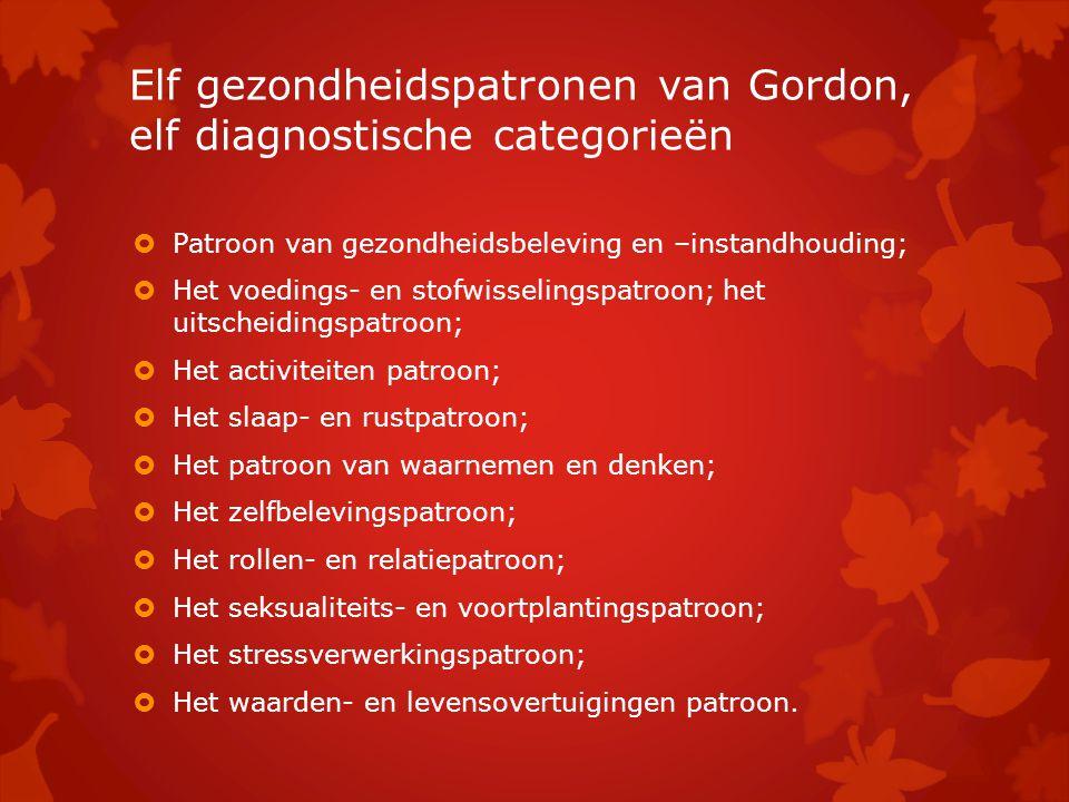 Elf gezondheidspatronen van Gordon, elf diagnostische categorieën  Patroon van gezondheidsbeleving en –instandhouding;  Het voedings- en stofwisseli