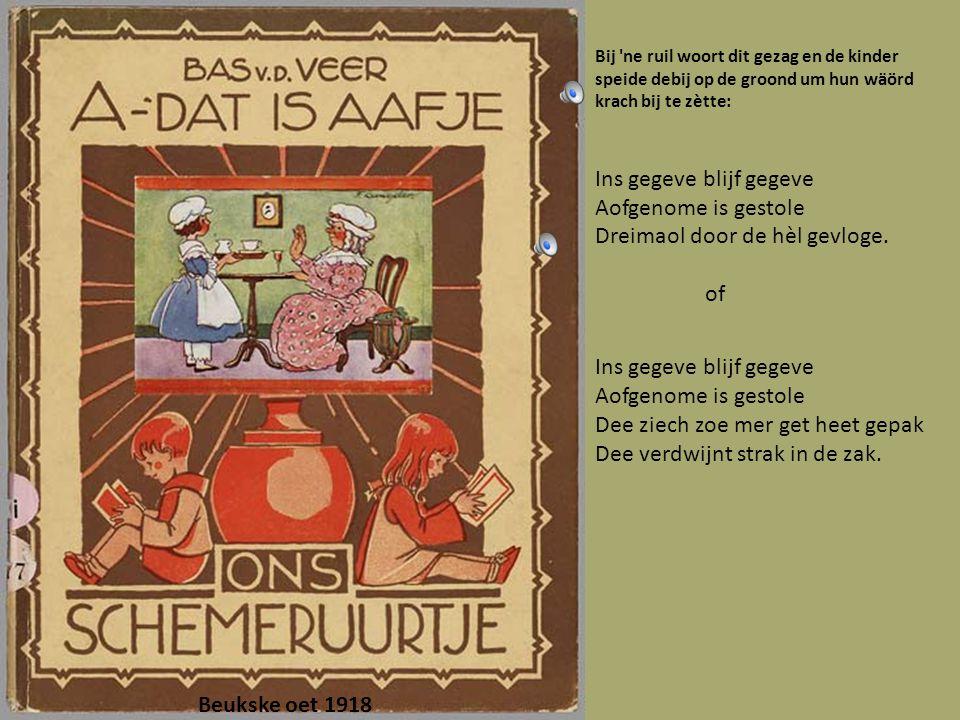 Oet 1926 Mèt de ermkes euverein zege Hout zege panne vege klumpkes make tot ze krake.