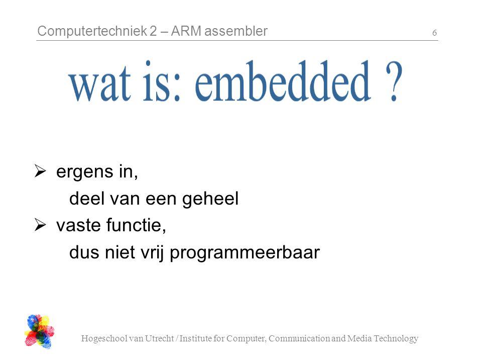 Computertechniek 2 – ARM assembler Hogeschool van Utrecht / Institute for Computer, Communication and Media Technology 7 niet:  snel  zo snel mogelijk  interactief, batch wel:  op tijd!