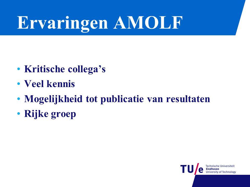 Ervaringen AMOLF Kritische collega's Veel kennis Mogelijkheid tot publicatie van resultaten Rijke groep
