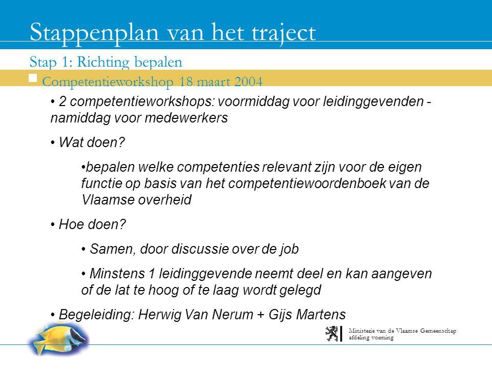 Stap 1: Richting bepalen Stappenplan van het traject Competentieworkshop 18 maart 2004 afdeling vorming Ministerie van de Vlaamse Gemeenschap 2 competentieworkshops: voormiddag voor leidinggevenden - namiddag voor medewerkers Wat doen.