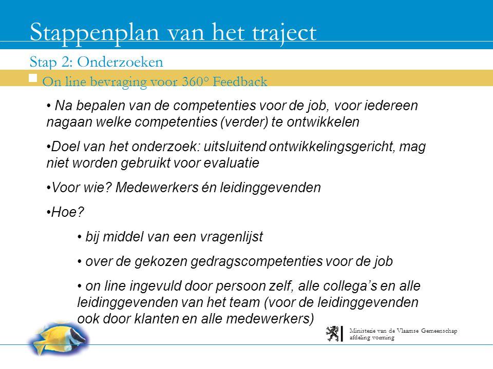 Stap 2: Onderzoeken Stappenplan van het traject On line bevraging voor 360° Feedback afdeling vorming Ministerie van de Vlaamse Gemeenschap Na bepalen van de competenties voor de job, voor iedereen nagaan welke competenties (verder) te ontwikkelen Doel van het onderzoek: uitsluitend ontwikkelingsgericht, mag niet worden gebruikt voor evaluatie Voor wie.