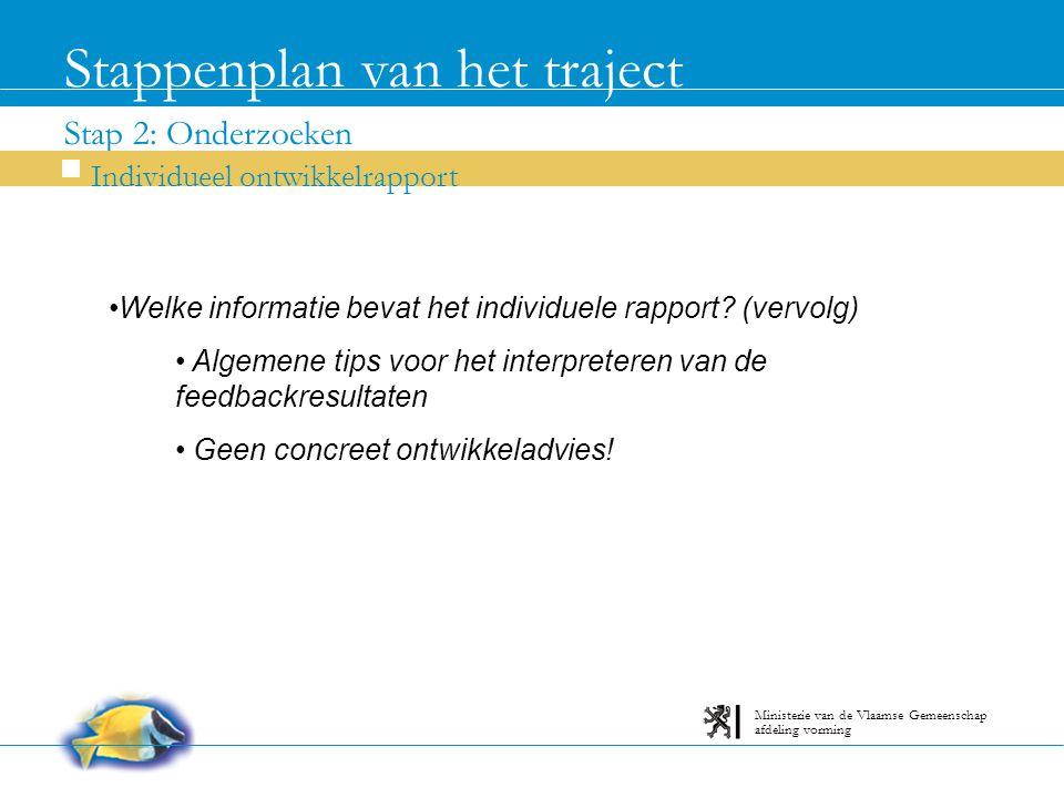 Stap 2: Onderzoeken Stappenplan van het traject Individueel ontwikkelrapport afdeling vorming Ministerie van de Vlaamse Gemeenschap Welke informatie bevat het individuele rapport.
