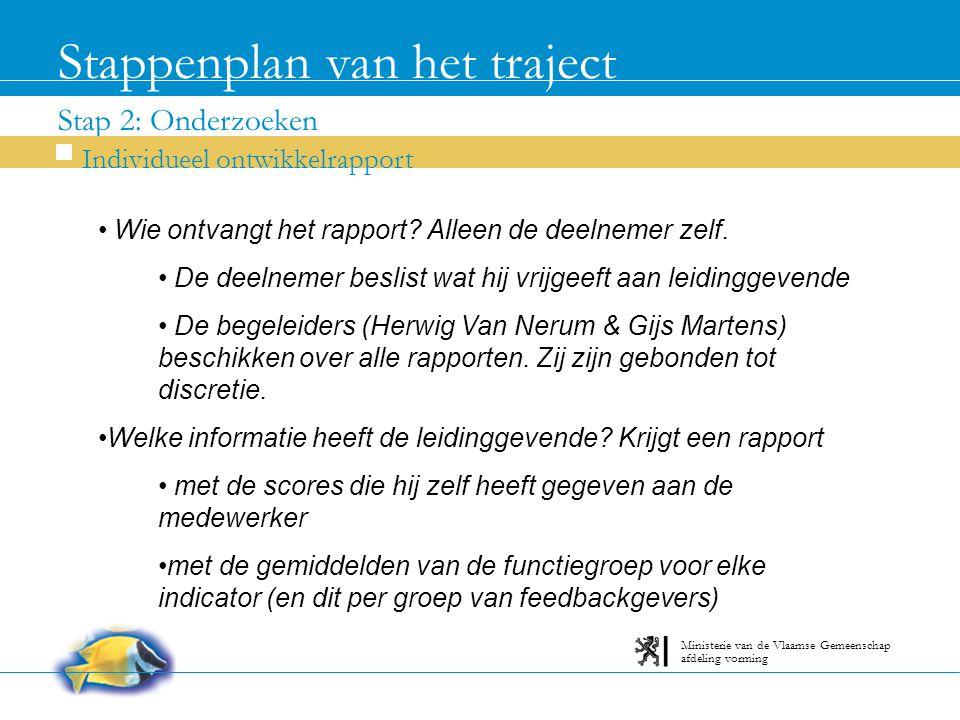 Stap 2: Onderzoeken Stappenplan van het traject Individueel ontwikkelrapport afdeling vorming Ministerie van de Vlaamse Gemeenschap Wie ontvangt het rapport.