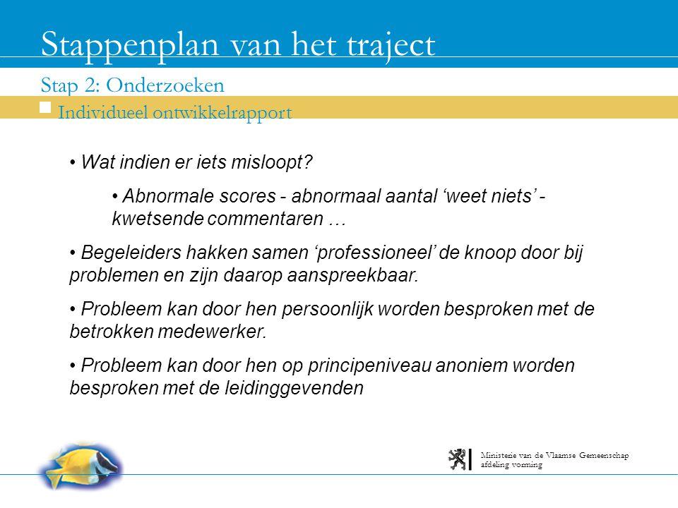 Stap 2: Onderzoeken Stappenplan van het traject Individueel ontwikkelrapport afdeling vorming Ministerie van de Vlaamse Gemeenschap Wat indien er iets misloopt.