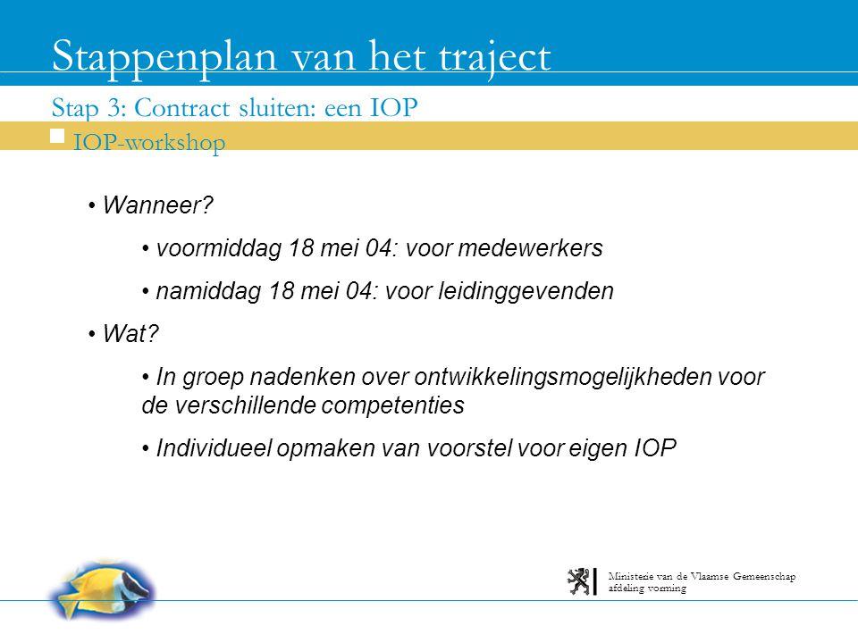 Stap 3: Contract sluiten: een IOP Stappenplan van het traject IOP-workshop afdeling vorming Ministerie van de Vlaamse Gemeenschap Wanneer.