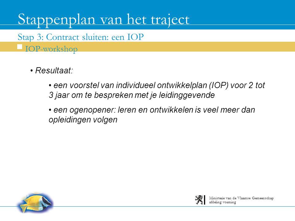 Stap 3: Contract sluiten: een IOP Stappenplan van het traject IOP-workshop afdeling vorming Ministerie van de Vlaamse Gemeenschap Resultaat: een voorstel van individueel ontwikkelplan (IOP) voor 2 tot 3 jaar om te bespreken met je leidinggevende een ogenopener: leren en ontwikkelen is veel meer dan opleidingen volgen