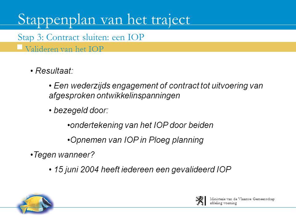 Stap 3: Contract sluiten: een IOP Stappenplan van het traject Valideren van het IOP afdeling vorming Ministerie van de Vlaamse Gemeenschap Resultaat: Een wederzijds engagement of contract tot uitvoering van afgesproken ontwikkelinspanningen bezegeld door: ondertekening van het IOP door beiden Opnemen van IOP in Ploeg planning Tegen wanneer.