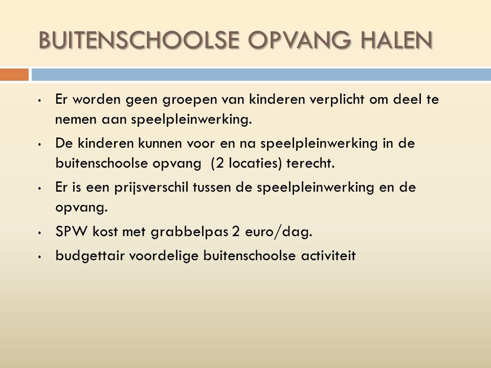 BUITENSCHOOLSE OPVANG HALEN Er worden geen groepen van kinderen verplicht om deel te nemen aan speelpleinwerking.