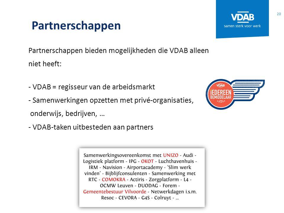 Partnerschappen Partnerschappen bieden mogelijkheden die VDAB alleen niet heeft: - VDAB = regisseur van de arbeidsmarkt - Samenwerkingen opzetten met