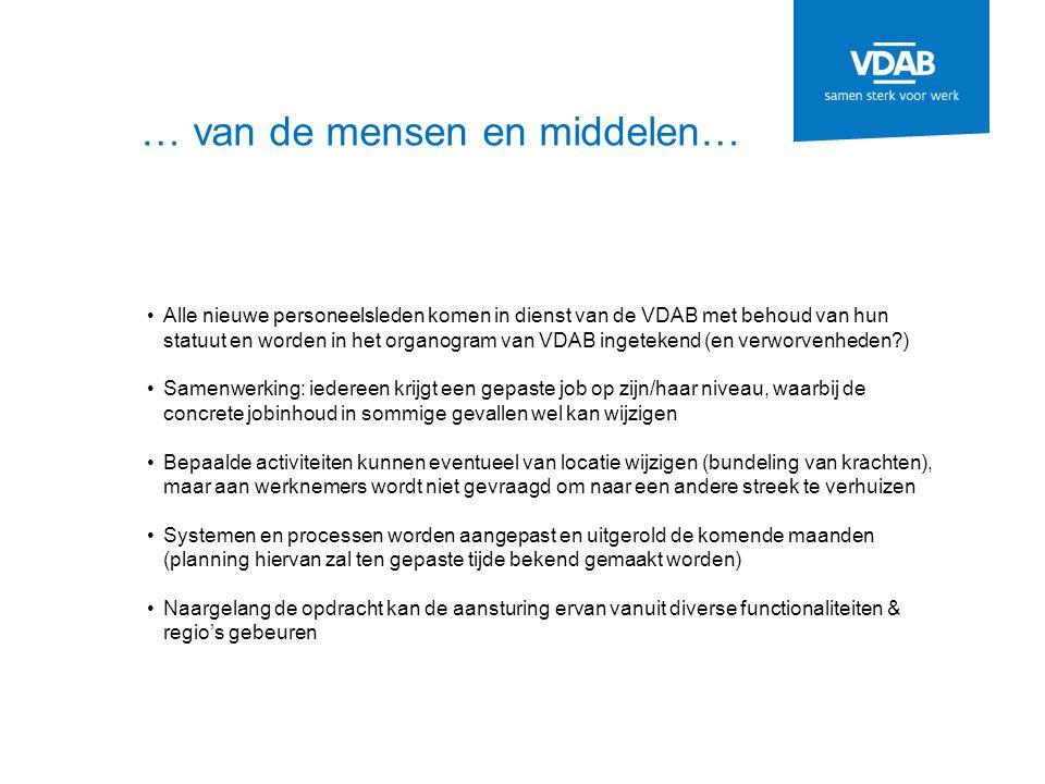 … van de mensen en middelen… Alle nieuwe personeelsleden komen in dienst van de VDAB met behoud van hun statuut en worden in het organogram van VDAB i