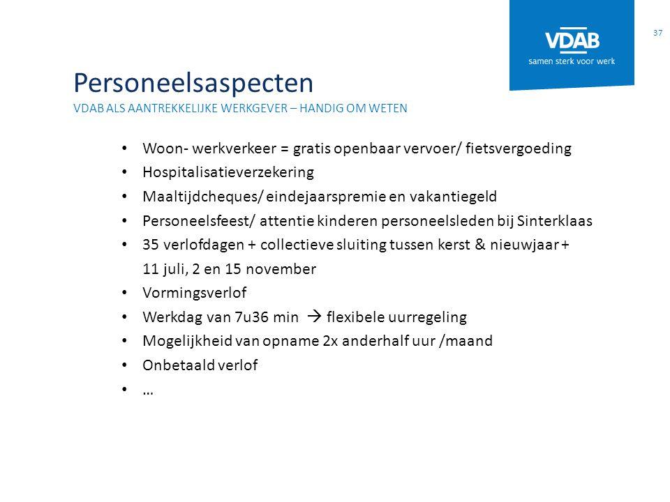 Personeelsaspecten VDAB ALS AANTREKKELIJKE WERKGEVER – HANDIG OM WETEN Woon- werkverkeer = gratis openbaar vervoer/ fietsvergoeding Hospitalisatieverz